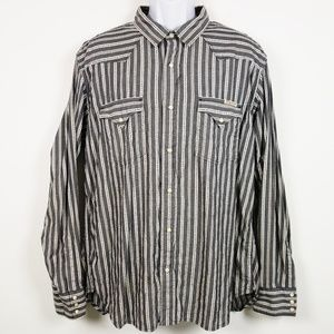 Lucky Brand Western Pearl Snap Striped Shirt XL